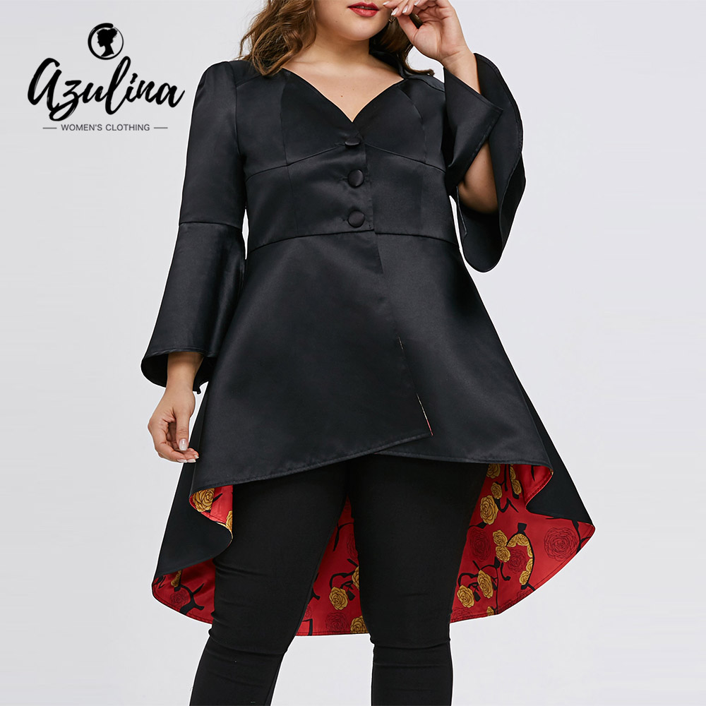 AZULINA Trench Winter Coat Women Plus Size 5XL Lace Up Buttons High Low Skirted Ladies Tops Black V-Neck Womens Outerwear Coats