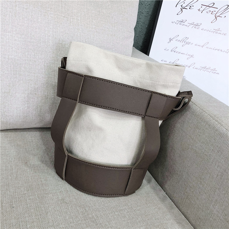 Bucket Bags Korean Style Canvas Shoulder Bag Simple Personality Stitching Messenger Bag