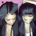 BQ Hair 8A Straight Weave Raw Indian 13*4 Lace Pre Plucked Frontal with 3 bundle Deals Remy Hair Tissage Ear to Ear Lace Frontal
