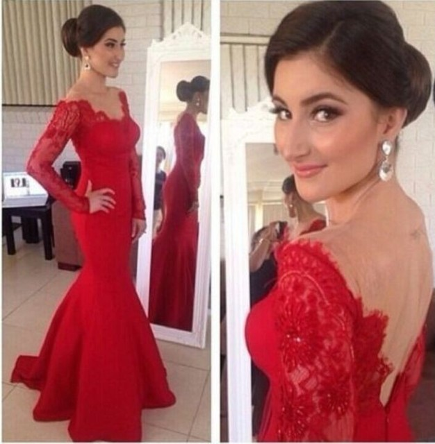 The New Long Sleeved Prom Dresses Long Red Evening Gowns Mermaid ...