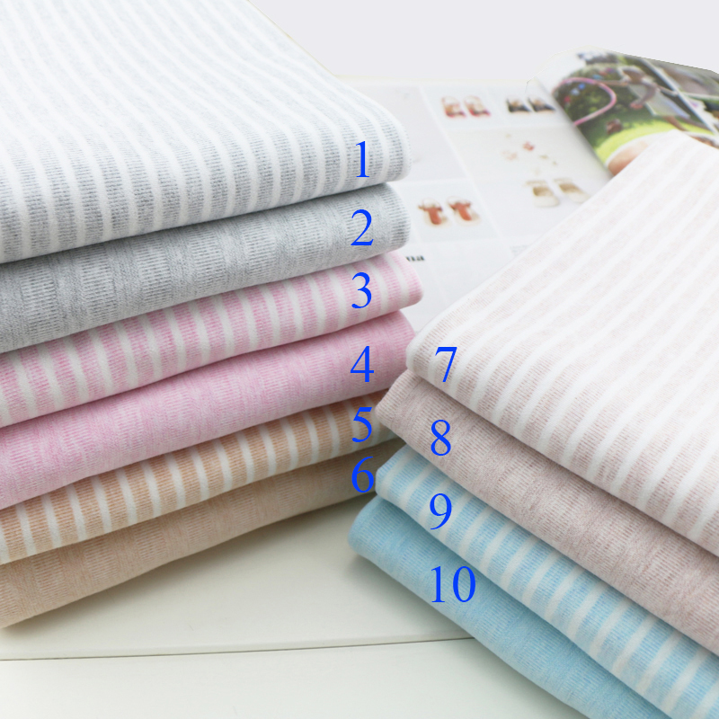 High qulity Elastic cotton Lycra knitted fabric sanding striped cloth soft waxy skin baby T shirt