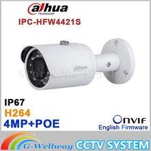 Original Dahua DH-IPC-HFW4421S 4MP Full HD WDR Network Small IR Bullet Camera CCTV POE IPC-HFW4421S