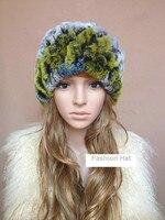 Kadınlar şapka kürk şapka ile eşarp ile rex tavşan kürk, el örme kadın renkli mor sonbahar kış beanies, toptan, 4 renk H222