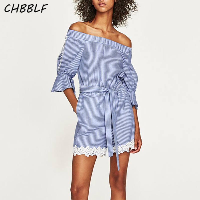 Spring New European Lace Decorative Stripes Ladies Rompers Fashion Pagoda Sleeve Conjoined Shorts Playsuits C8153