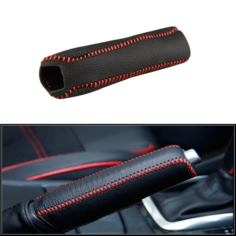 Cow Leather Handbrake Grips Cover Car Decoration for Kia K2 2011 2012 2013 2014 2015 2016 Handbrake Sleeve Protective Case image