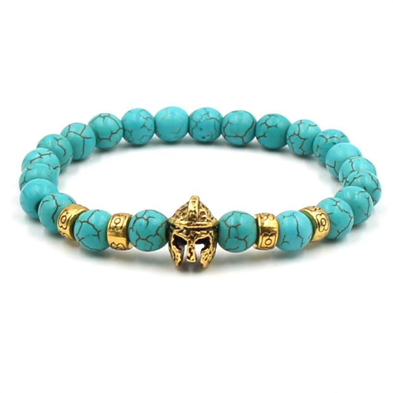 Natural stone Gold Head Bracelets Volcanic Stone Black Couple Beaded Bracelets Men Jewelry Fashion Woman Bracelets 2019 1