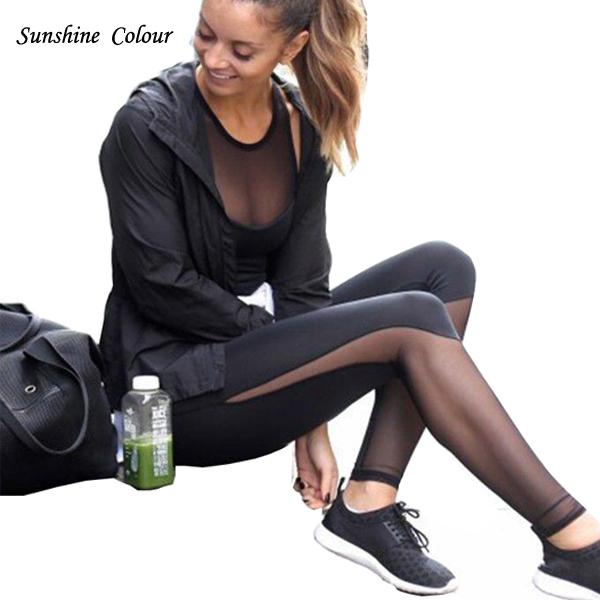 Aptidão Leggings Mulheres Cintura Alta Patchwork de Malha quente Leggings Magro Push Up Calzas Aptidão Deportivas Mujer