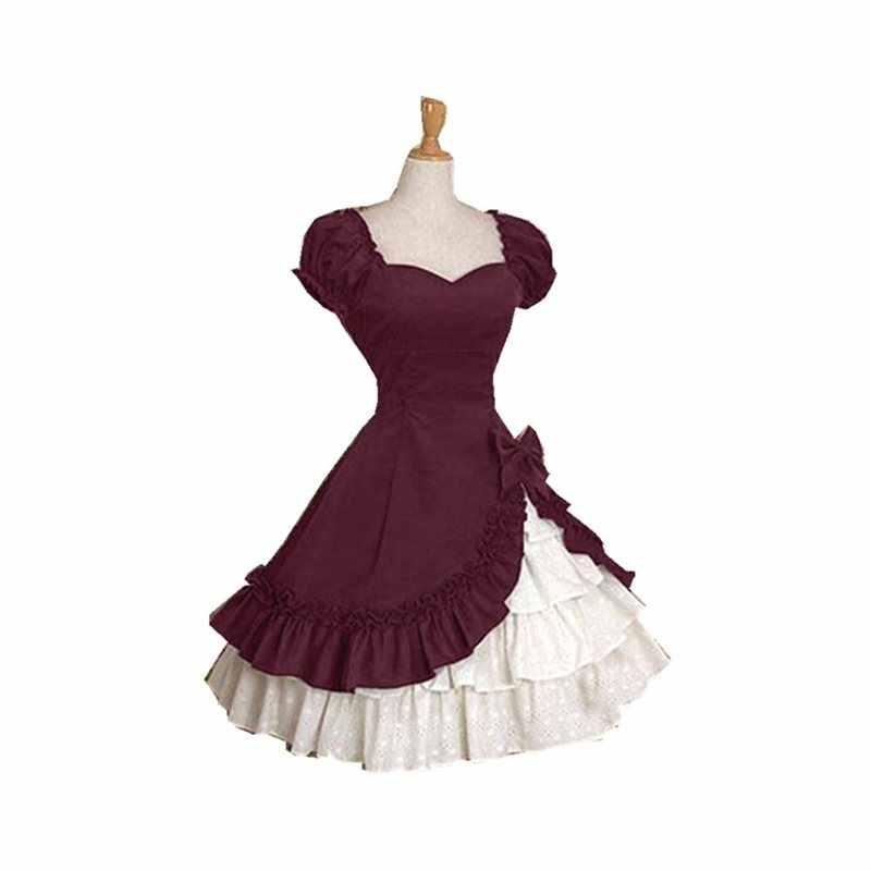 Элегантный Принцесса Винтаж качели лук оборками Готический для женщин Лолита вечерние для вечеринок плиссированные ретро гот большой разме