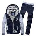 2016 men's boutique thickening of warm winter sport suits/hoodies+pants/Male color matching velvet warm hoodies/men sweatshirts