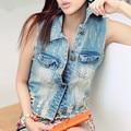 Женская мода плюс размер джинсовой жилет женщин отверстие рукавов ripped верхняя одежда