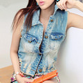 Women's fashion plus size denim vest women hole sleeveless ripped outerwear