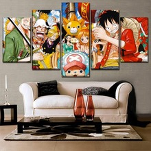 5 Pieces One Piece Animation Poster Role Painting Modern Top-Rated Canvas Print Picture Home Decor Wall Art Modular Framework