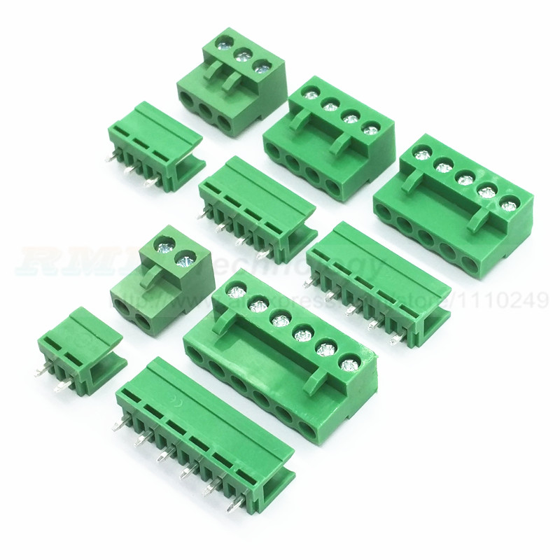 цена на 10 sets/lot HT5.08 2 3 4 5pin Terminal plug type 300V 10A KF2EDGK 5.08mm pitch PCB connector screw terminal block Free shipping