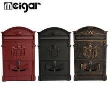 Retro Mailbox Villas Post Box European Lockable Outdoor Wall Newspaper Boxes Secure Letterbox 41x25x8cm Garden Home Decoration