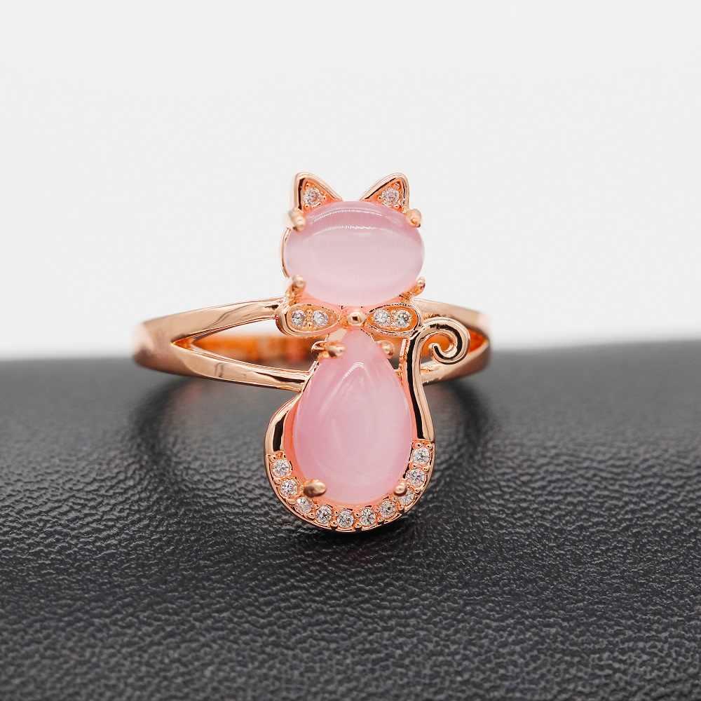 USA STOCK Uloveido Cute Cat Set di Gioielli Da Sposa Animale Rosa Opale Anello Orecchini con perno e Della Collana In Oro Rosa di Colore Gioielli Y427