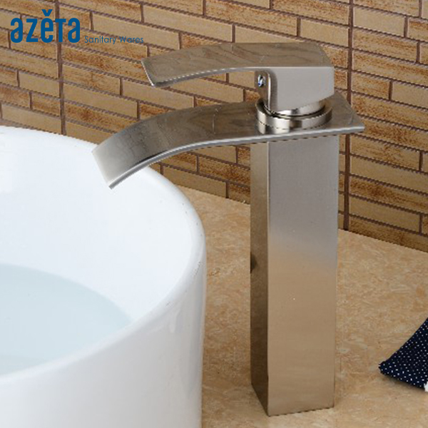 Hot Sales Square Waterfall Tall Basin Faucet Bathroom Deck Mounted Brass Material Brushed Nickel Basin Mixer Tap AT3306HBNHot Sales Square Waterfall Tall Basin Faucet Bathroom Deck Mounted Brass Material Brushed Nickel Basin Mixer Tap AT3306HBN