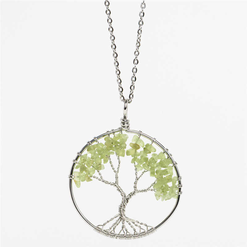 ใหม่ต้นไม้รอบของชีวิตจี้สร้อยคอชิปสีชมพูคริสตัลหินธรรมชาติสร้อยคอโซ่สแตนเลสสตีลผู้หญิงเครื่องประดับ
