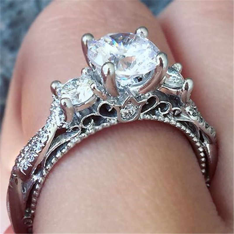 Choucong VINTAGE Finger แหวน 3-Stone Sona AAAAA Zircon 925 เงินสเตอร์ลิงแหวนหมั้นแหวนเครื่องประดับ
