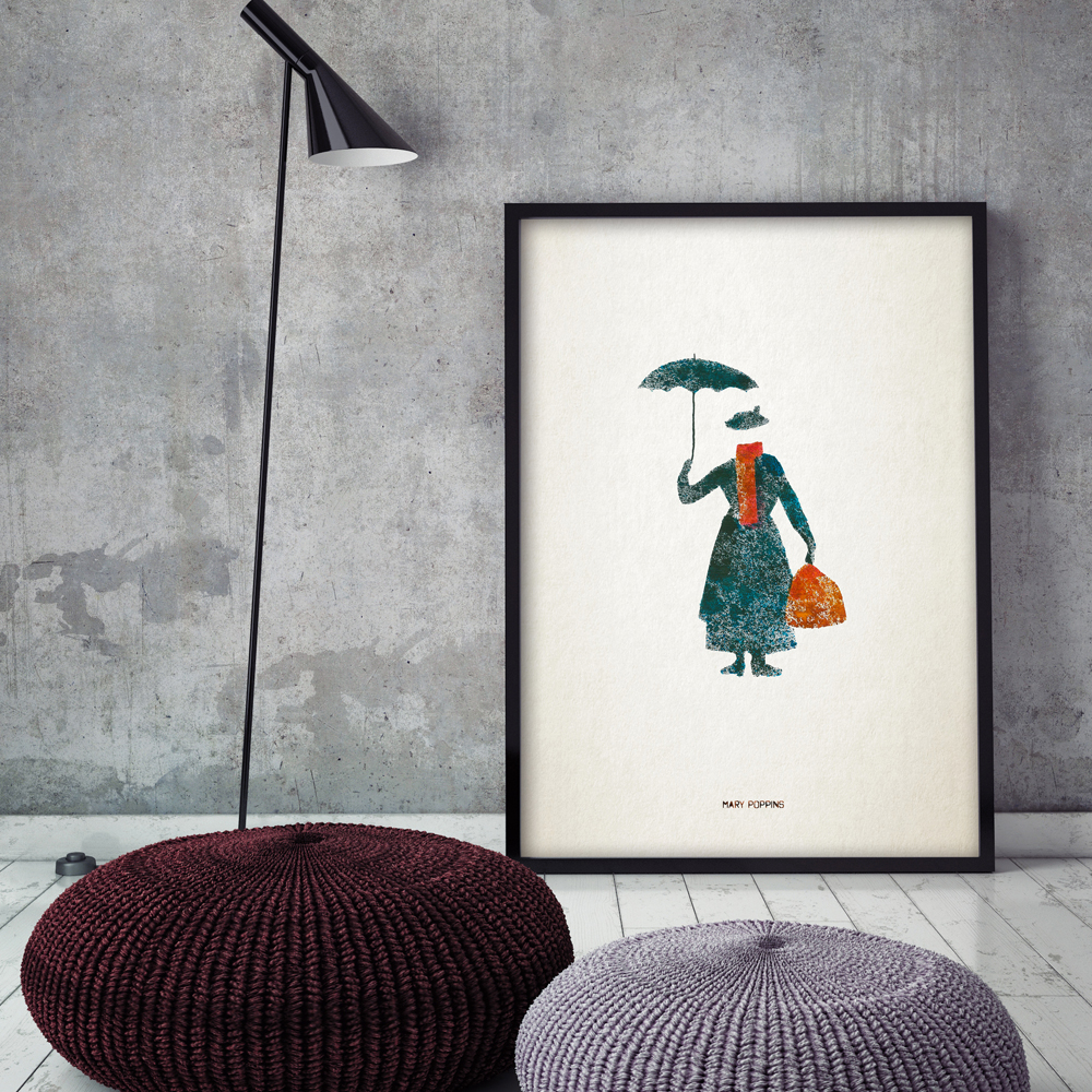 Original Aquarell Splash Kunst Moderne Film Mary Poppins A4 Print Leinwand Gemälde...