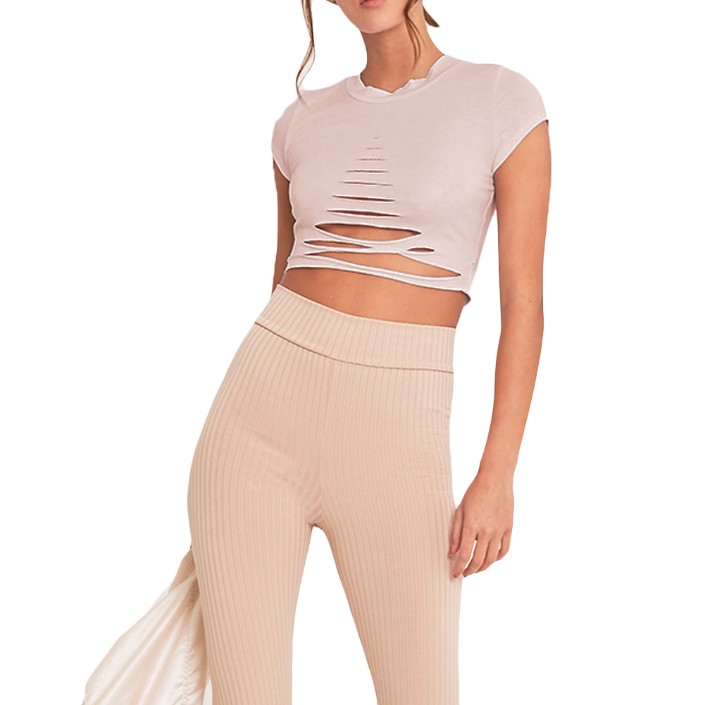 Sexy Women Ripped Holes Crop Top Hollow Out T-Shirt Short Sleeve Cropped Feminino Top Shirt XL Black/White/Pink Roupa Feminina como rasgar uma camiseta feminina