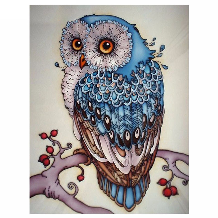 5d DIY diamante pintura búho Cruz puntada hermoso búho azul animal costura casa decorativa 3D diamante cuadrado completo Bordado
