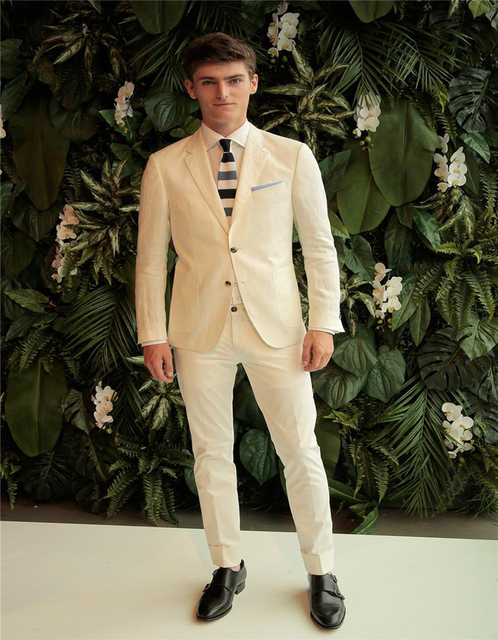 White Groom Tuxedos Custom Made Slim Fit Best Men Wedding Suits Pants Coat Two Ons Blazer