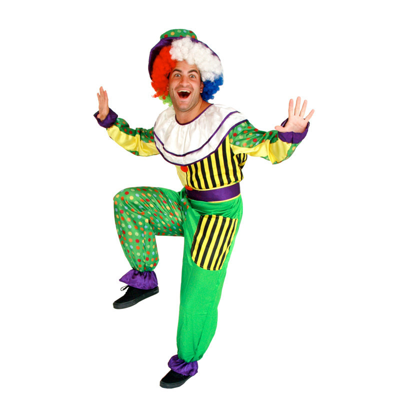Men's Dot Clown Costume Holiday Variety Funny Clown Costume Adult Clown Costume Cospaly Party Dress Up Clown Suit Costume