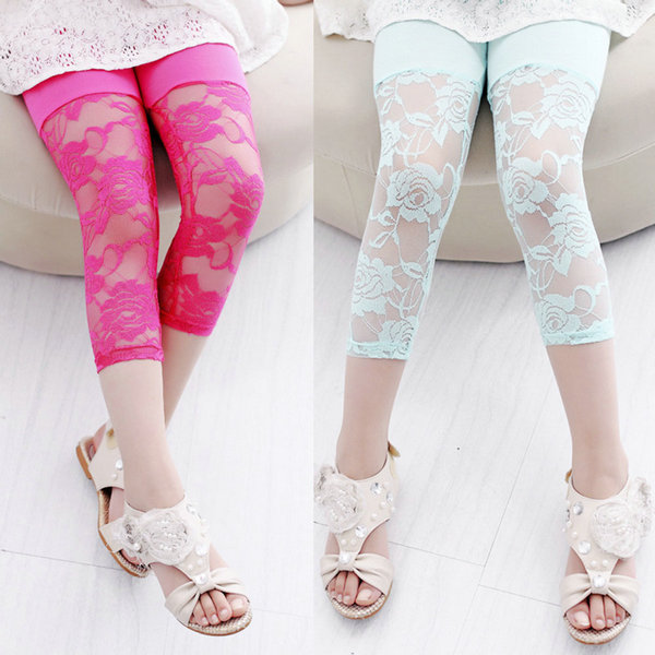 Summer Baby Kids Girls Cropped Leggings Lace Floral Casual 3/4 ...