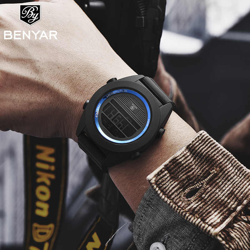 BENYAR Brand Men's Watches LED Digital Watch Black Alarm Waterproof Sport Watches for Men Relogio Masculino Relojes Para Hombre