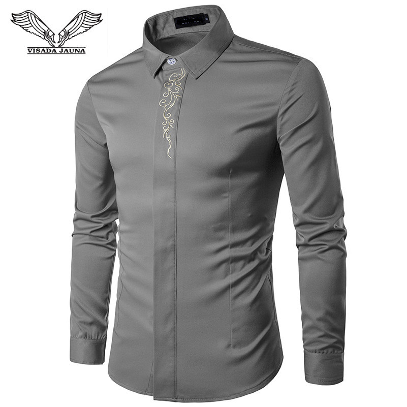 VISADA JAUNA 2018 Spring And Autumn Embroidery Multicolor Base Print Mens Luxury Shirts  Men's Smart Casual Long-Sleeved Shirts
