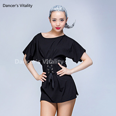 Women Latin Short sleeves Round neck T shirt Sexy Solid Latin Dance Clothes Top For Women Ballroom Tops Latin Dance Costume