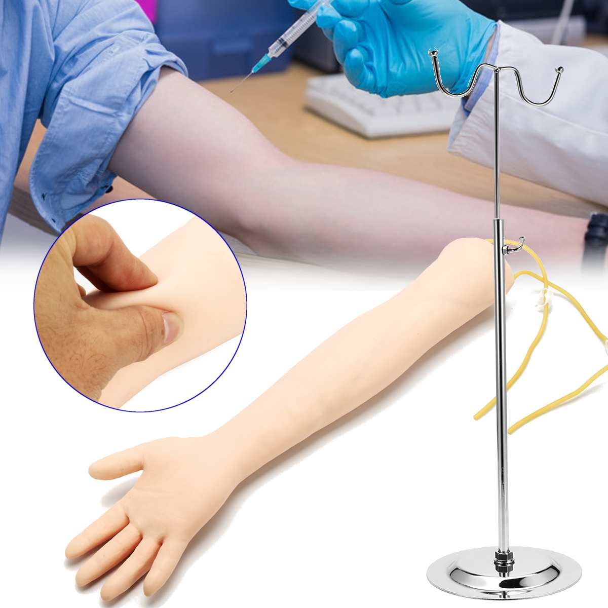 Electronic Anatomical IV Phlebotomy Venipuncture Practice Arm Anatomy Injection Practice Medical Simulator Nurse Training Kit