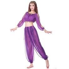 2 peças terno trajes de dança do ventre trajes de dança oriental trajes de dança de bollywood adulto traje de dança do ventre conjunto sutiã superior + calça