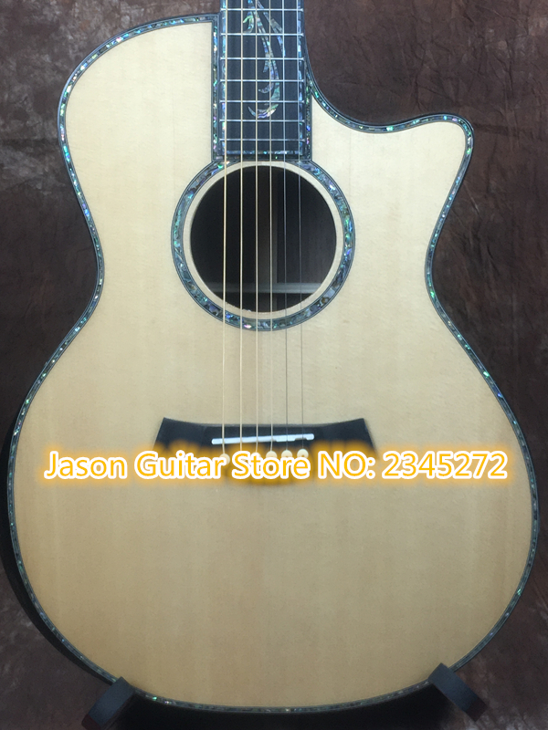 customize + Factory + body cut Chaylor acoustic guitar all real abalone solid top ps 14 electric acoustic guitar free shipping 2016 new light blue imitation old st electric guitar good body real guitar photos free shipping