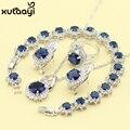 Azul Criado Sapphire Nova Moda Sterling Silver Overlay Anéis Colar Brinco Pulseira Conjuntos de Jóias Para As Mulheres de Classe