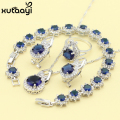 Blue Created Sapphire  New Fashion Sterling Silver Overlay Jewelry Sets For Women Classy Necklace Rings Earring Bracelet
