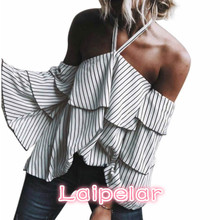 Summer Women Striped Blouse Fashion Casual Blue Off Shoulder Long Sleeve Halter Chocker Blouse Women Loose Tops Blusas Vestidos blue off shoulder stripe pattern blouse with long sleeves
