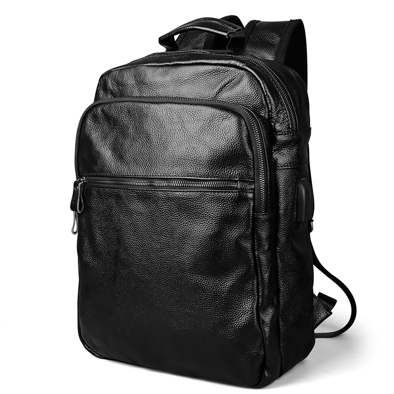 2018 Genuine Leather Men's Backpack Male Leather High Quality Student Travel Bag Men Designers Famous Brand High Quality Men Bag s c cotton brand backpack men good quality genuine leather