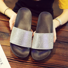 купить Rhinestone Women Slippers Flip Flops Summer Slides Women Shoes Crystal Diamond Bling Beach Slides Sandals Casual Shoes Slip On по цене 1061.88 рублей