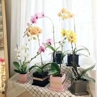 home decor square cement flower pot modern desktop crafts succulent plants concrete planter pot with tray