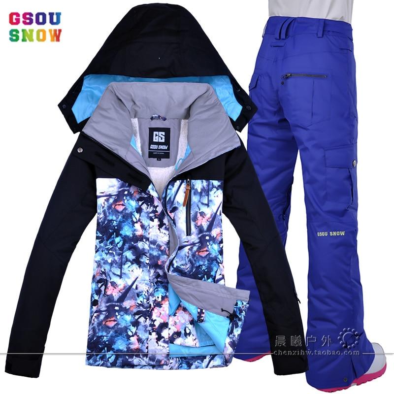944816eb83024 GSOU снег Водонепроницаемый лыжный костюм Для женщин лыжная куртка брюки Женская  зимняя обувь Открытый Лыжный спорт