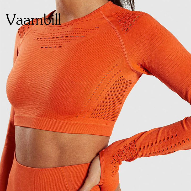 Woman Long Sleeve Crop Seamless Gym Shirt Yoga Sport Top Workout Tops For Women Fitness Tshirt Women's T-shirt Sportswear