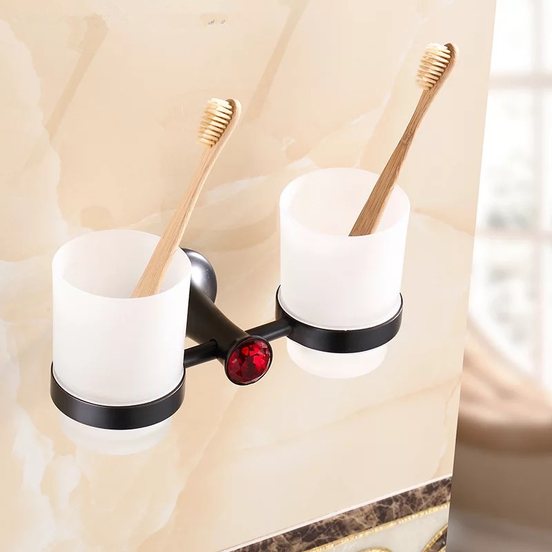 Bathroom black antique Double tumbler cup holder toothbrush holder bathroom accessory sanitary ware bathroom furniture toilet 2017 latest model rubber spray technology black single tumbler cup holder toothbrush holder bathroom accessory