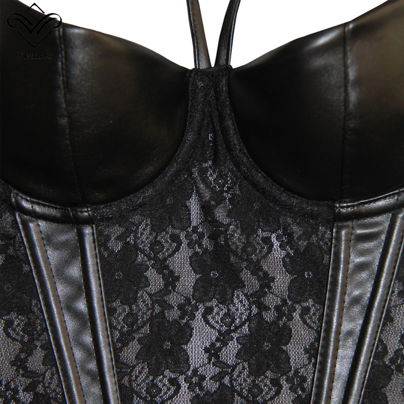 Image 5 - Wechery Corset Sexy Bustiers Lace Overbust Bustier Black Corset Push Up Gothic Body Shaper Leather Corselet Zipper Plus Size-in Bustiers & Corsets from Underwear & Sleepwears on AliExpress