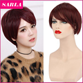 1 PC Synthetic Short Wigs with Side Bang for Black Women Natural Wigs Short for White/Black /Yellow Women With Wig Cap SW036