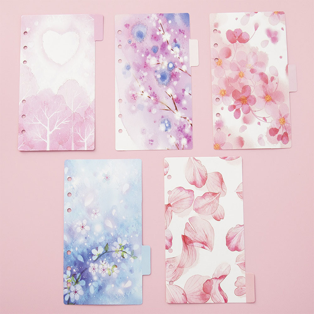 5Pcs/combo PP Transparent Separator Divider For A5 A6 Notebooks Cherry Blossom Index Filler Partition For Planner Sketchbook