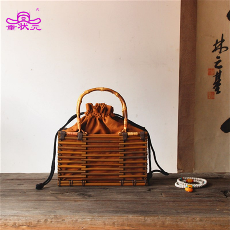 TZY Chinese Style Women Bamboo Handbags Summer Style Beach Tote Design Lady Tea Bag Hollow Out Drawstring Bag For Female punk style pure color hollow out ring for women