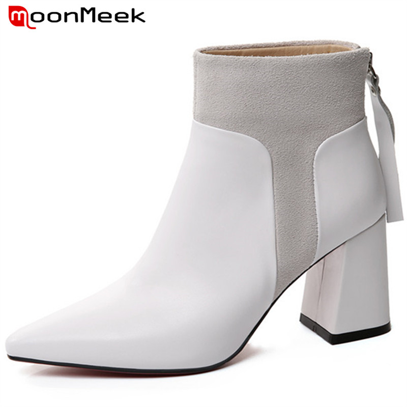 MoonMeek fashion autumn winter women boots genuine leather boots high heel ankle boots classic pointed toe цена 2017