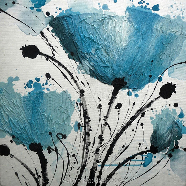 High Quality Wall Art Painting Canvas Paintings Blue Flowers Oil On Canvas  Modern Paintings For Interior