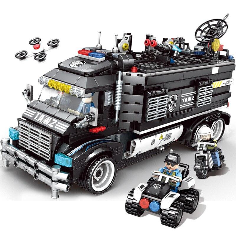1164 個子供のビルディングブロックのおもちゃ互換 Legoingly 市ブラックホーク特殊部隊特殊警察携帯コマンドベース  グループ上の おもちゃ & ホビー からの ブロック の中 3